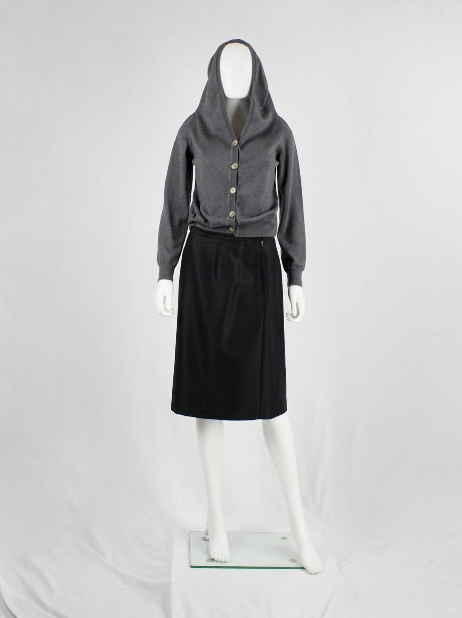 Maison Martin Margiela grey-blue cardigan with elongated hooded collar — fall 2005