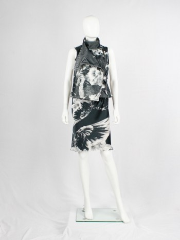 Ann Demeulemeester black and white bird printed skirt with frayed finish — spring 2010