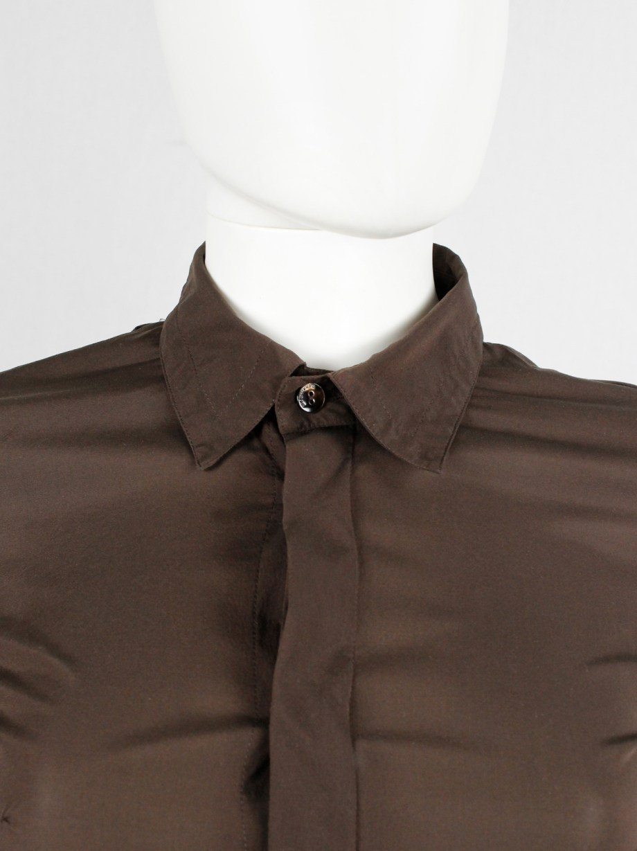 Dirk Bikkembergs brown bodysuit shirt with open back and rows of buttons