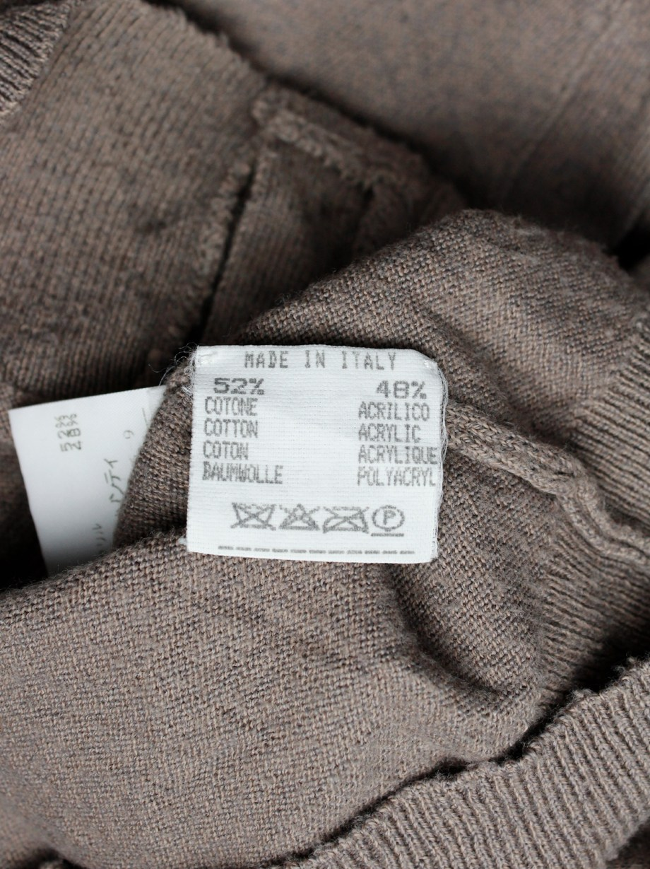 Maison Martin Margiela light brown cardigan with permanent wrinkles — spring 1999