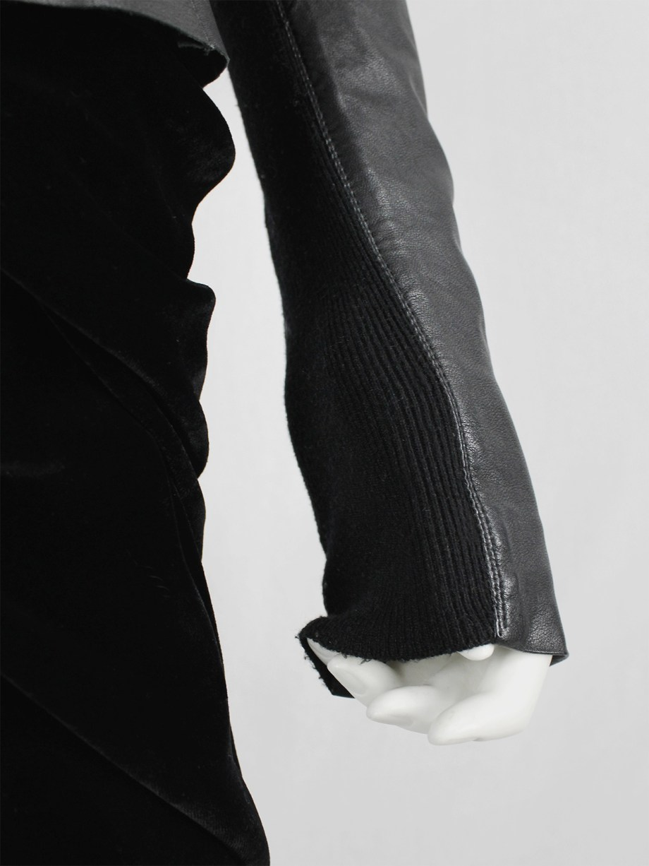 Rick Owens GLEAM black asymmetric leather jacket with high standing neckline — fall 2010