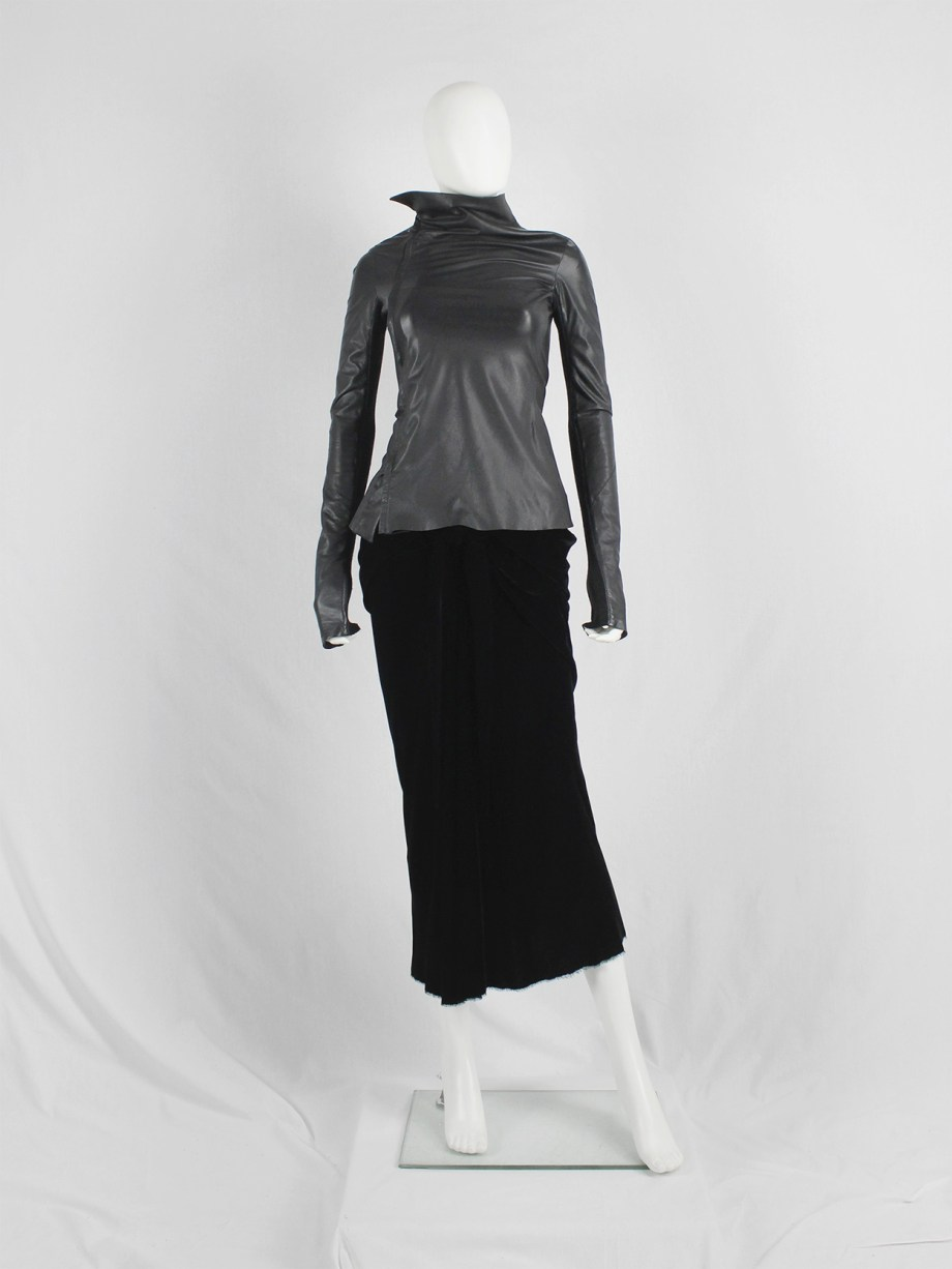 Rick Owens GLEAM black asymmetric leather jacket with high standing neckline fall 2010 (11)