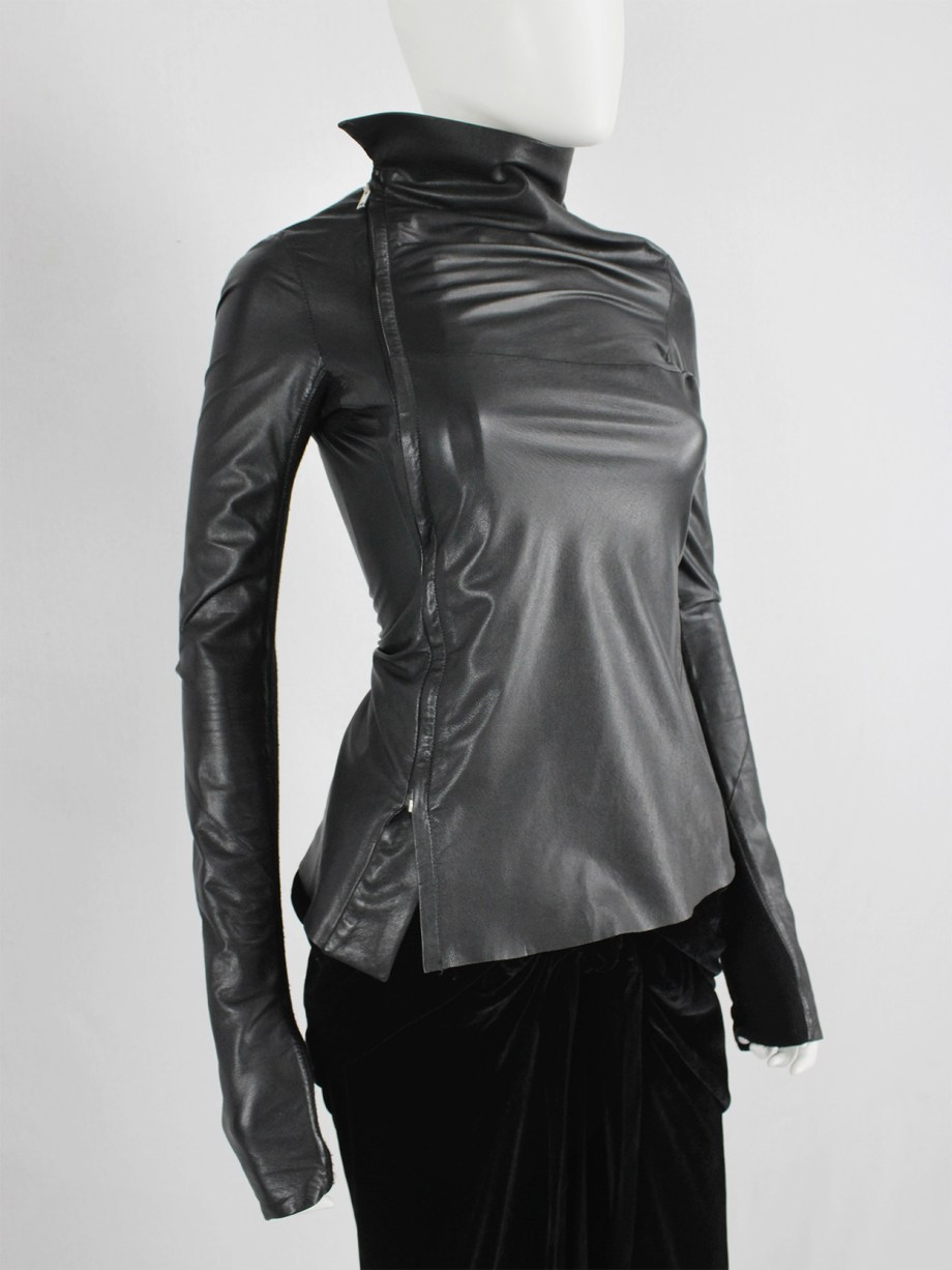 Rick Owens GLEAM black asymmetric leather jacket with high standing neckline fall 2010 (8)