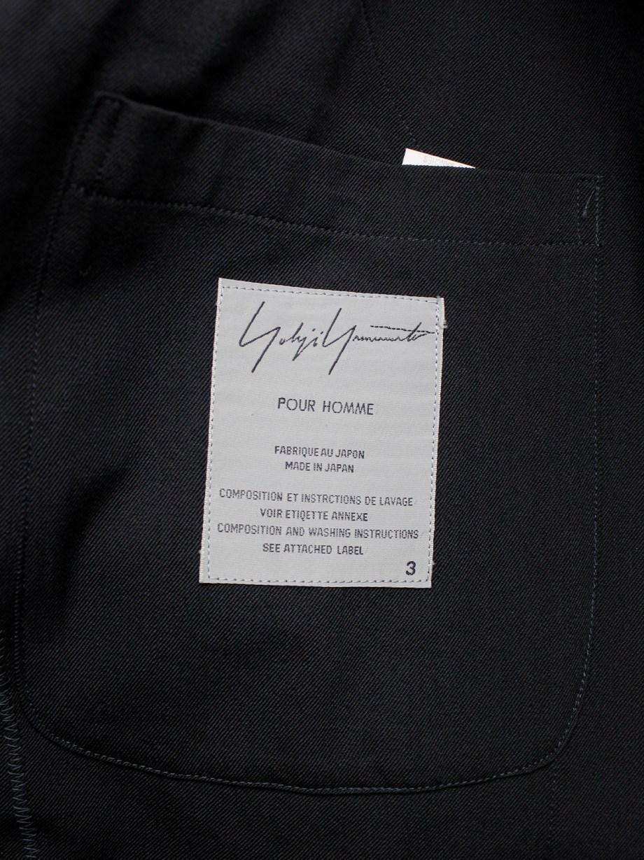 Yohji Yamamoto Pour Homme black classic blazer with double layered lapels