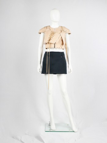 A.F. Vandevorst blackish green neoprene miniskirt with copper studs — fall 2010