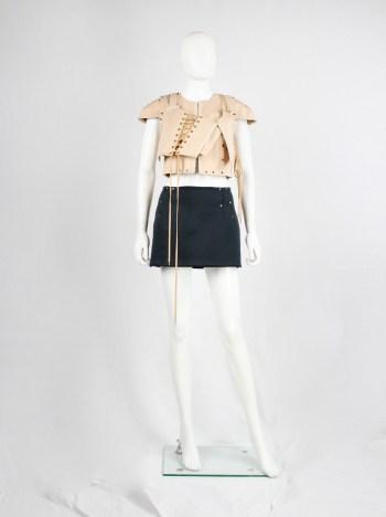 A.F. Vandevorst blackish green neoprene miniskirt with copper studs — fall 2010