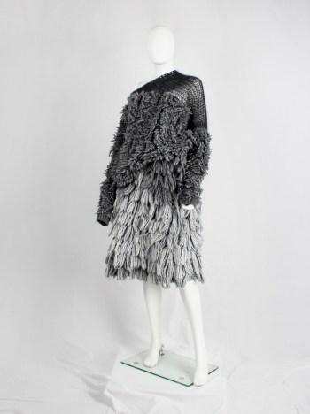 A.F. Vandevorst grey shaggy jumper with black woven shoulder panel — fall 2015