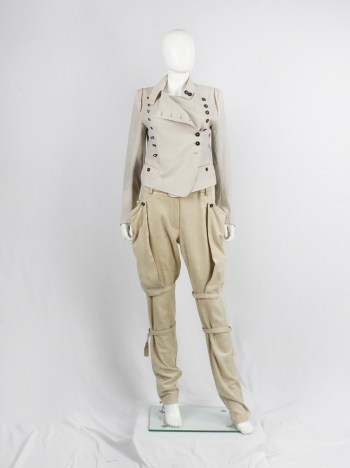Ann Demeulemeester beige horse riding trousers with side pockets and belt straps — fall 2004