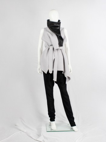 Ann Demeulemeester light purple wool vest with black leather collar — fall 2012