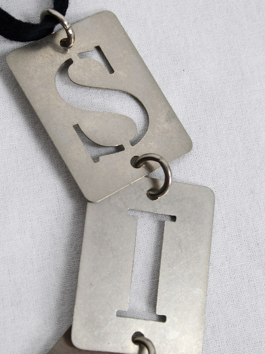 Ann Demeulemeester necklace with 'SIN' stencilled metal plates — spring 2003
