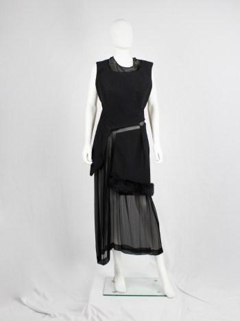 Comme des Garçons black panelled dress with faux fur trim on a sheer underlayer — fall 1997