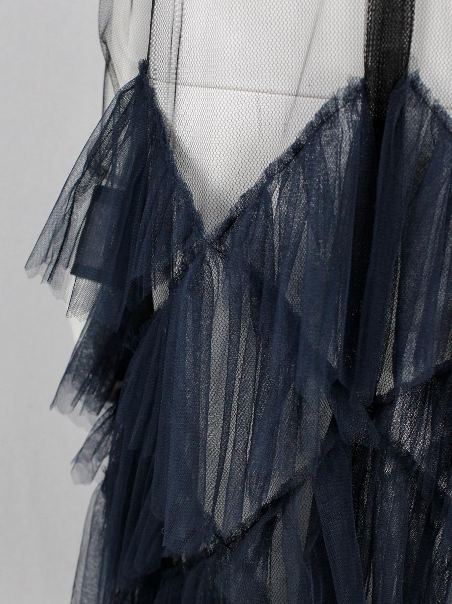 Dries Van Noten black sheer shirt dress with blue tulle skirt — spring 2016