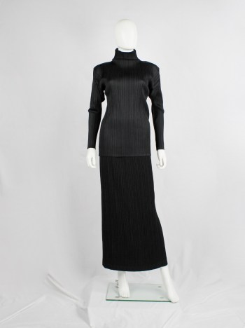 Issey Miyake black straight maxi skirt with fine pressed pleats — early 2000's
