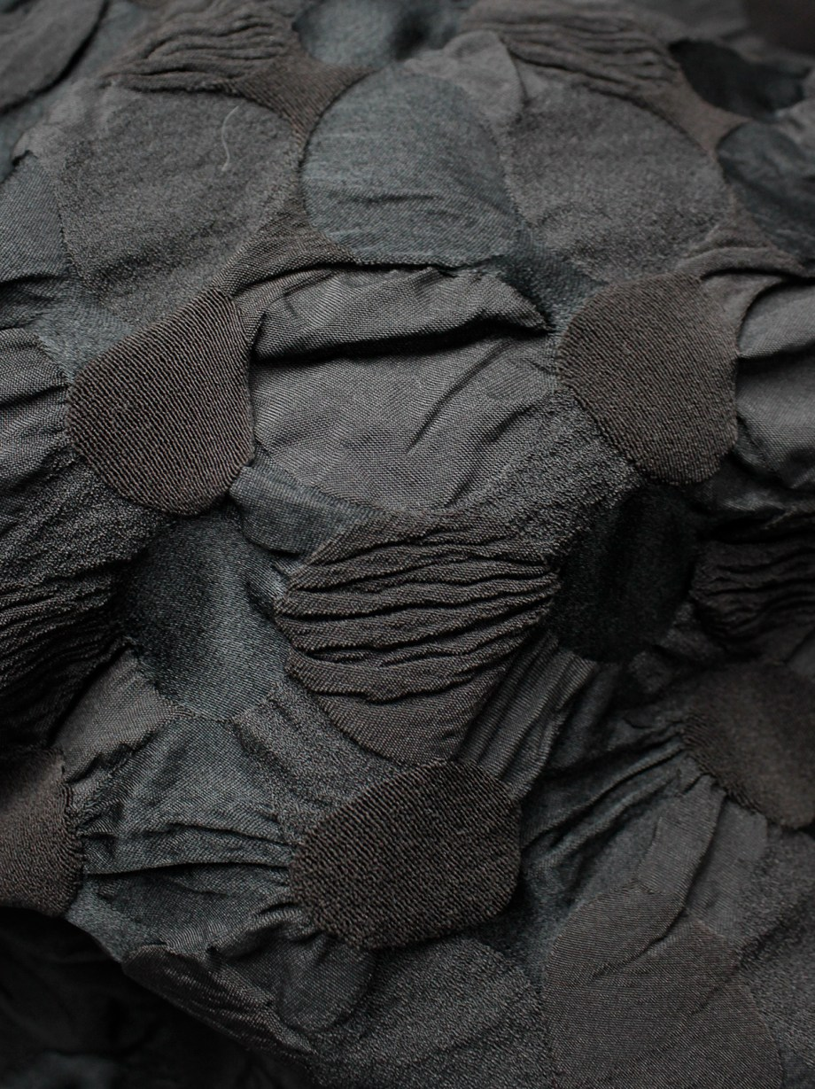 Issey Miyake dark brown trousers made of textured circles fused together