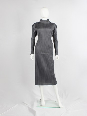 Issey Miyake Pleats Please grey pleated turtleneck jumper with square shoulders