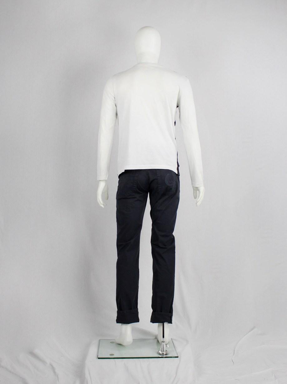 Maison Martin Margiela artisanal mens jumper with navy deconstructed waistcoats — spring 2004