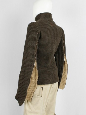 A.F. Vandevorst brown and beige inside out jumper with zipped sleeves — fall 2000