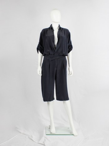 A.F. Vandevorst dark blue silk jumpsuit with slanted belt — spring 2008