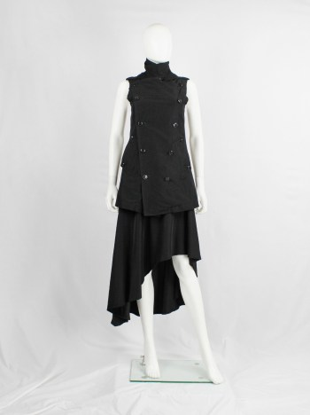 Y's Yohji Yamamoto black double breasted vest with open back and removable collar