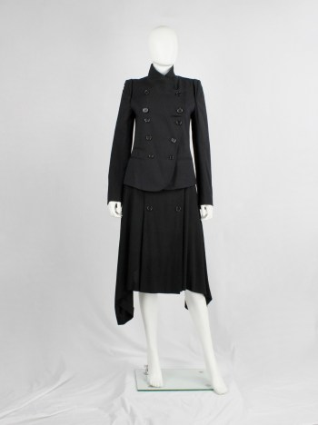 Ann Demeulemeester black double breasted jacket with front panel slit