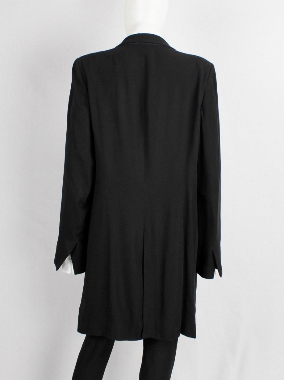 Ann Demeulemeester black oversized long blazer with wrap closure