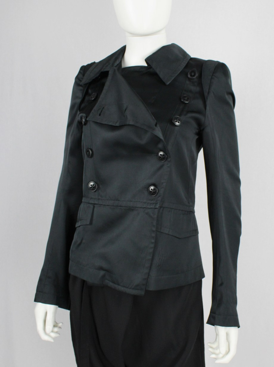 Ann Demeulemeester black satin double breasted jacket with large collar