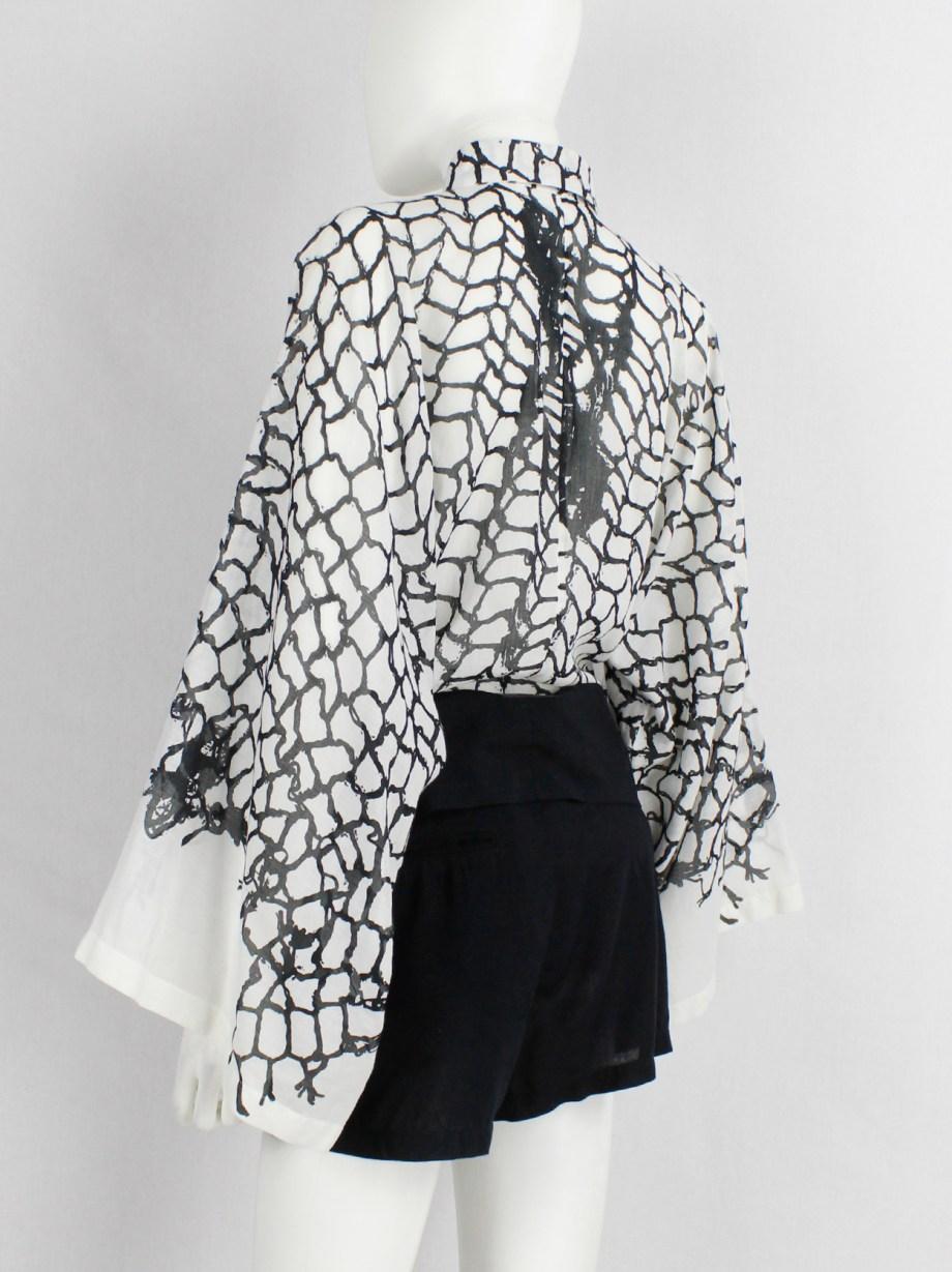 Ann Demeulemeester white shirt with black netting print — spring 2001