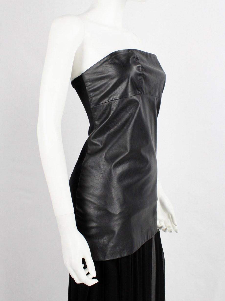 Maison Martin Margiela black strapless leather micro-dress — spring 2010
