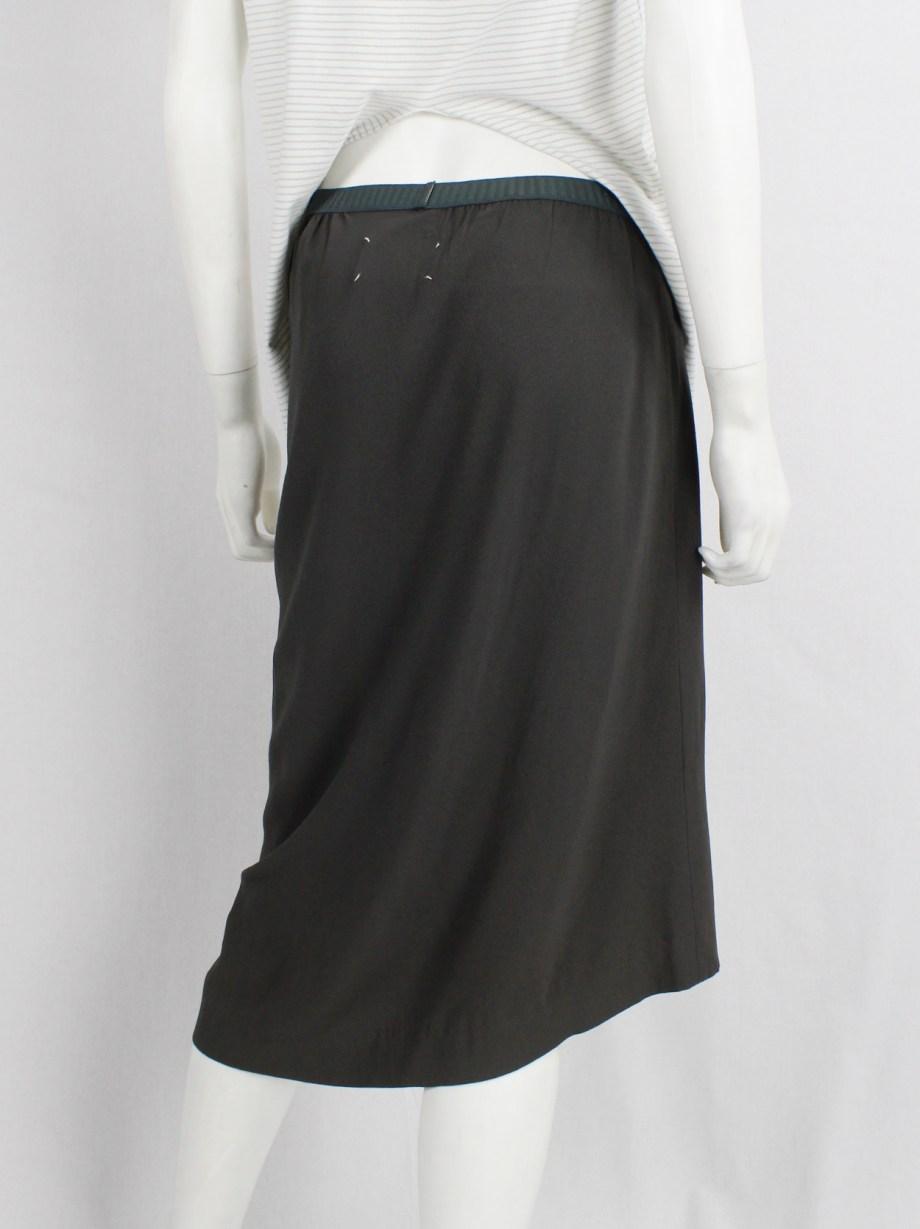 Maison Martin Margiela grey-green curved skirt with asymmetric hem — fall 2003