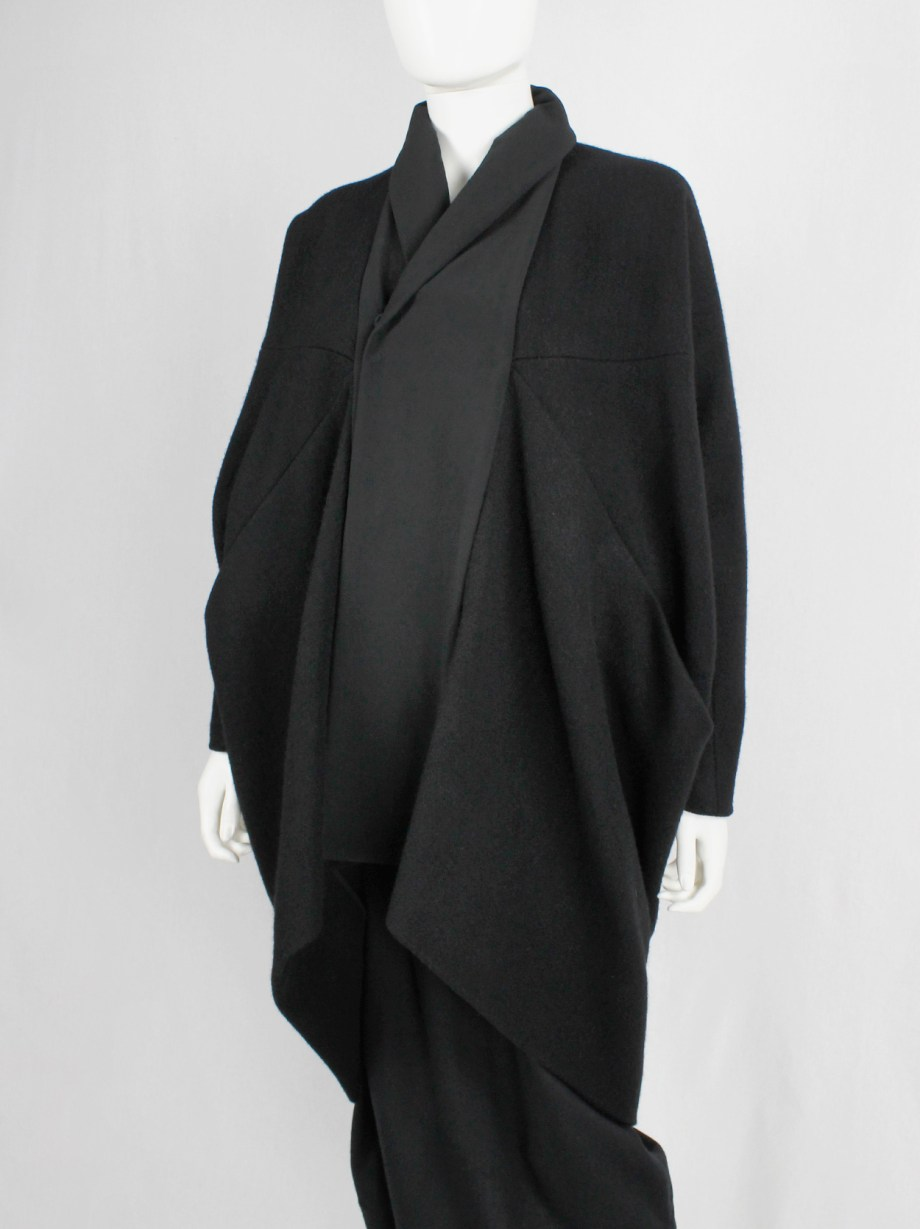 Rick Owens MOUNTAIN black oversized cocoon coat with front panel — fall 2012