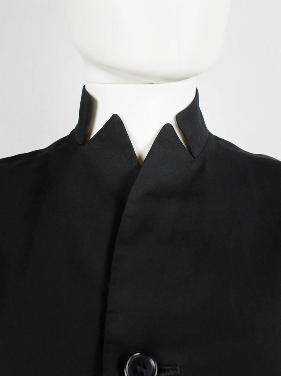 Yohji Yamamoto Noir black tailored blazer with frayed silk trim at the sleeves