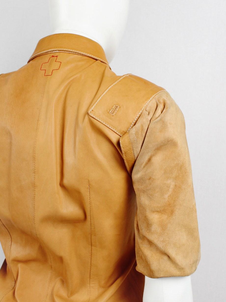 af Vandevorst cognac leather pocket shirt with upwards folded sleeves spring 1999 (17)