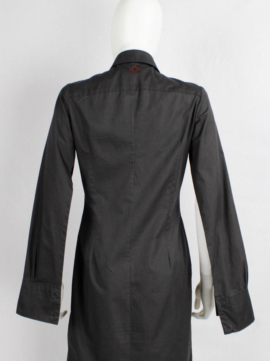 A.F. Vandevorst dark grey asymmetric shirt dress with open sleeves — fall 2001
