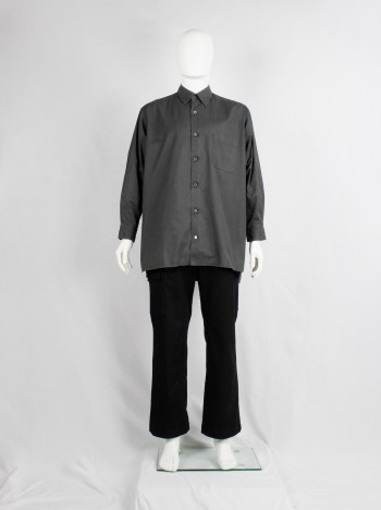 Y's for Men grey oversized shirt with square button patches — 1990's