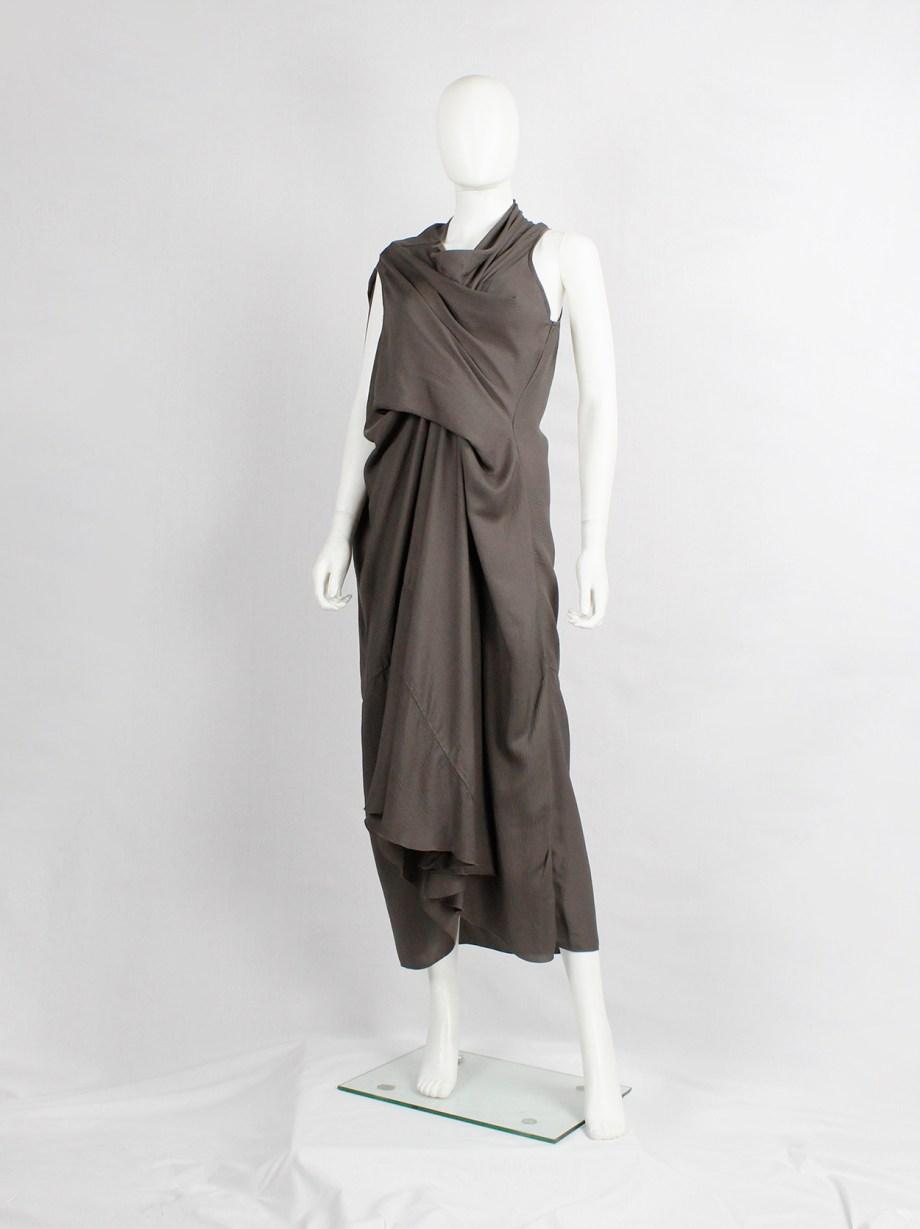 Rick Owens NASKA brown tornado dress with draping and pleats — spring 2012