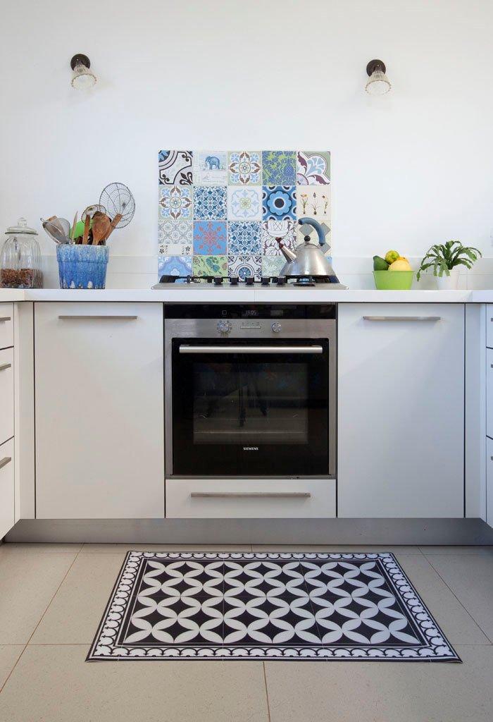PVC Vinyl Mat Tiles Pattern Decorative Linoleum Rug Color Black Amp White 132 PVC Rug Kitchen