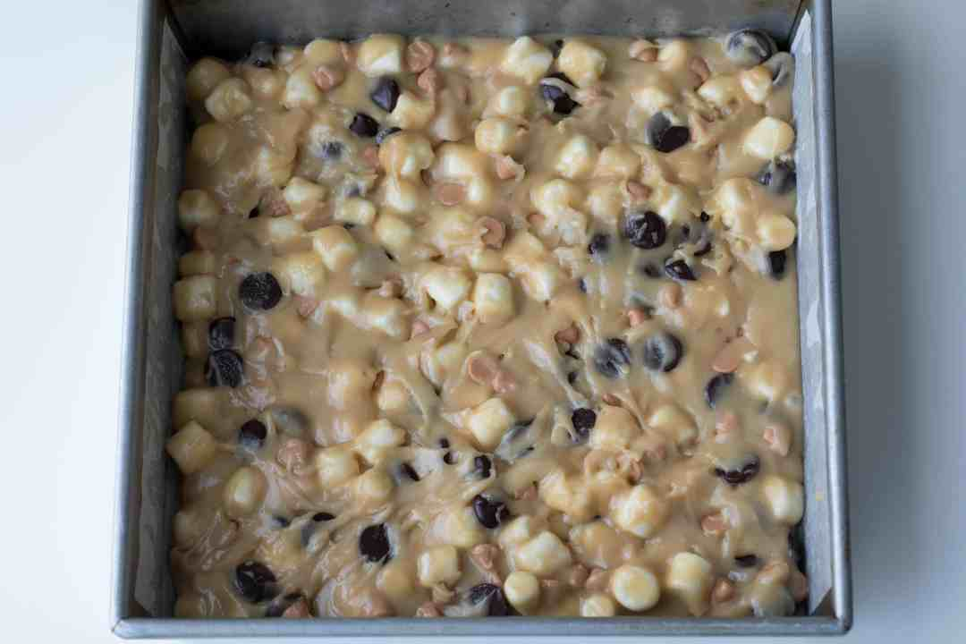 blondies in 9x9 pan, ready for oven