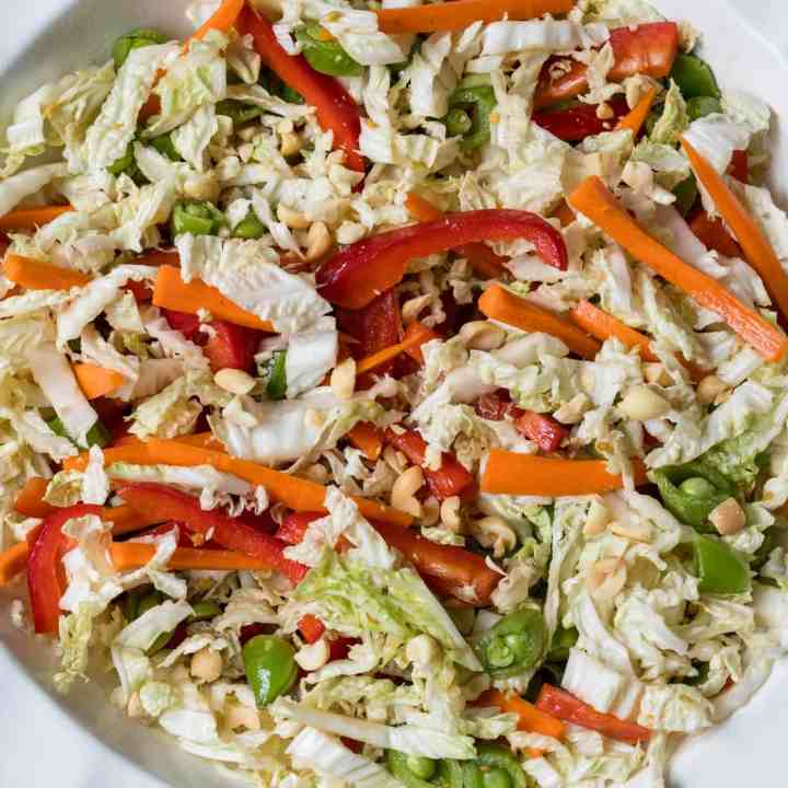 asian cabbage slaw with napa cabbage, red peppers, snow peas, and carrots with asian dressing in a large white bowl