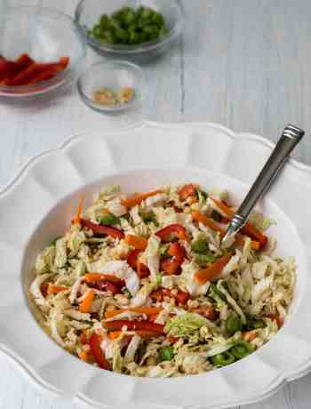 serving bowl of asian cabbage slaw with small bowls of red pepper, snap peas, and peanuts