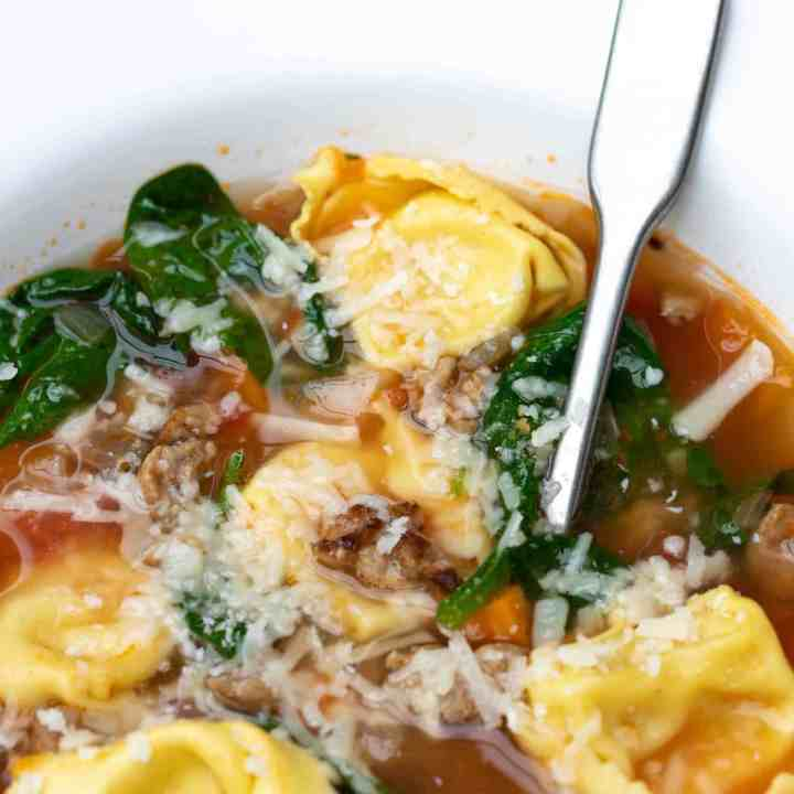 close up of tuscan tortellini soup