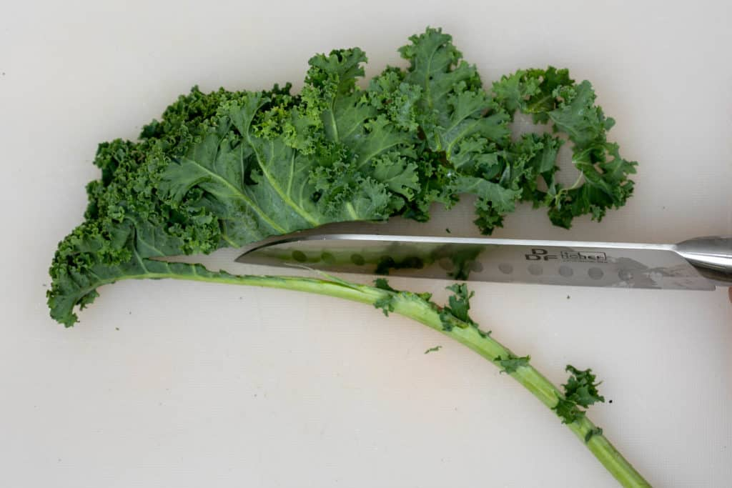 slicing kale leaves off the stalk