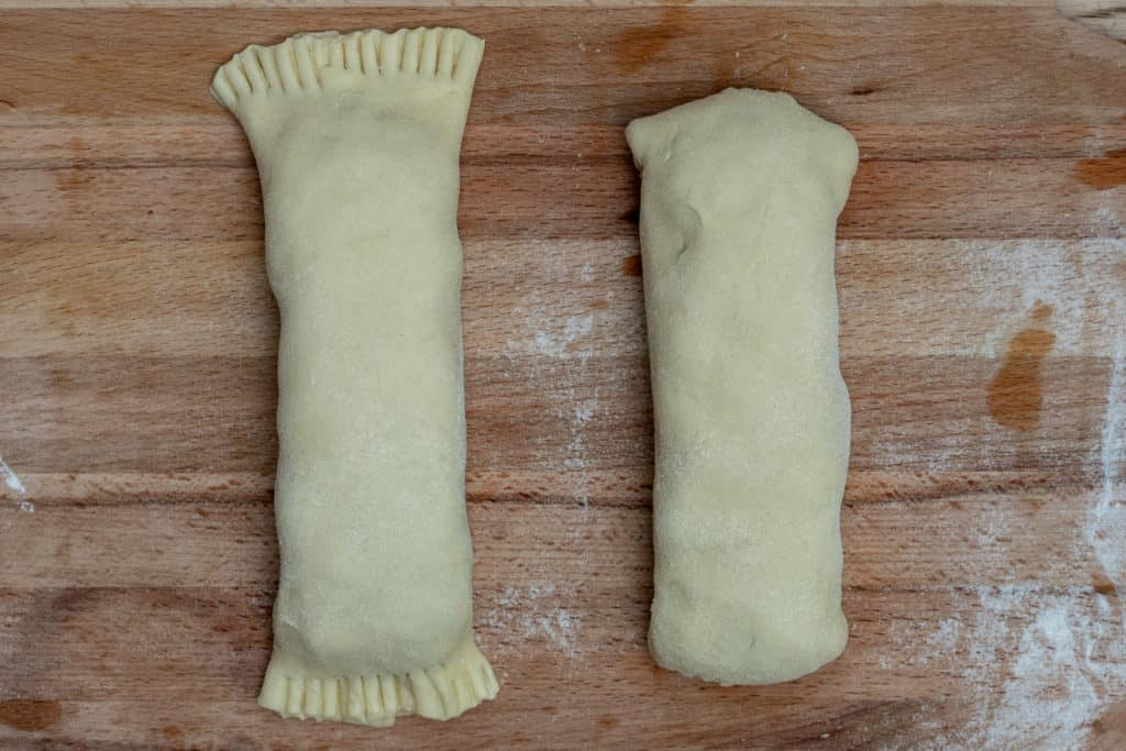 puff pastry salmon wellington packets crimped and ends folded under
