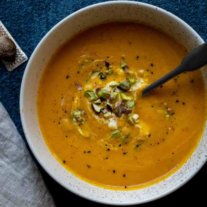 close up of carrot ginger soup