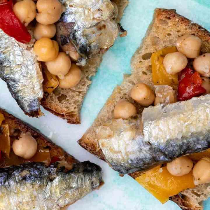 Sardines on Toast with Chickpea Salad