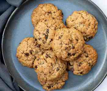 assortment of 10 almond flour oatmeal cookies on a plate with napkin
