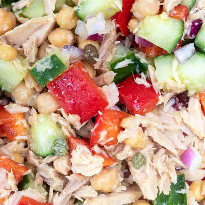 closeup of chickpea tuna salad