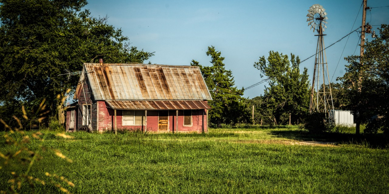 Abandoned Pink Farm House near St Jo, Texas