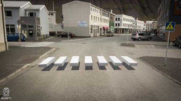 zebrapad optische illusie ijsland