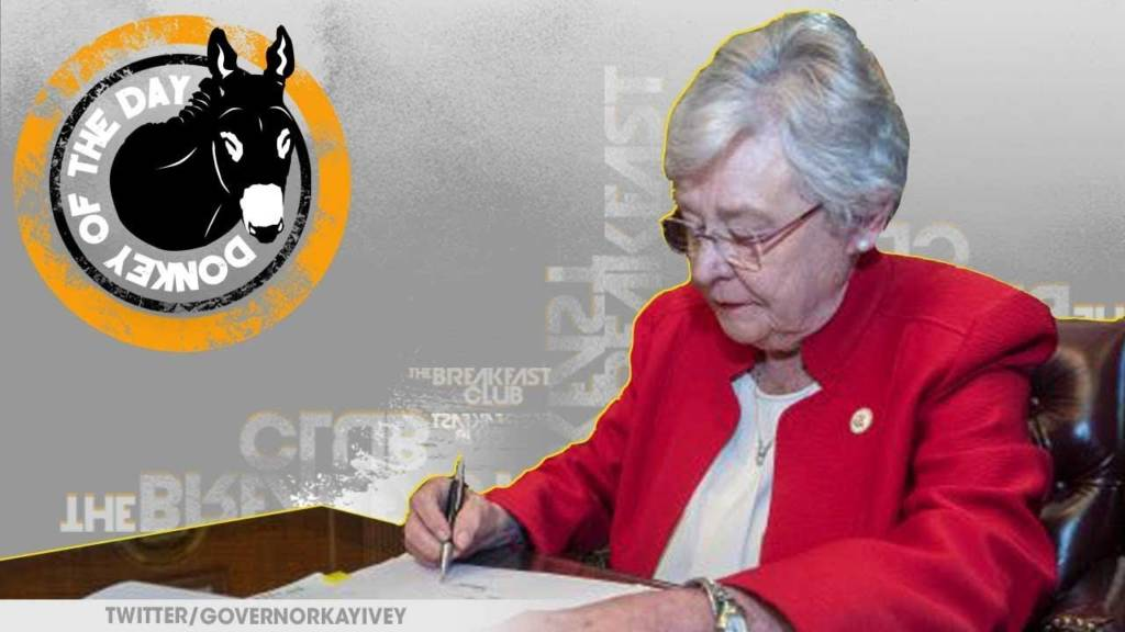 Governor Kay Ivey & 25 White Men Awarded Donkey Of The Day For Signing Alabama Abortion Bill