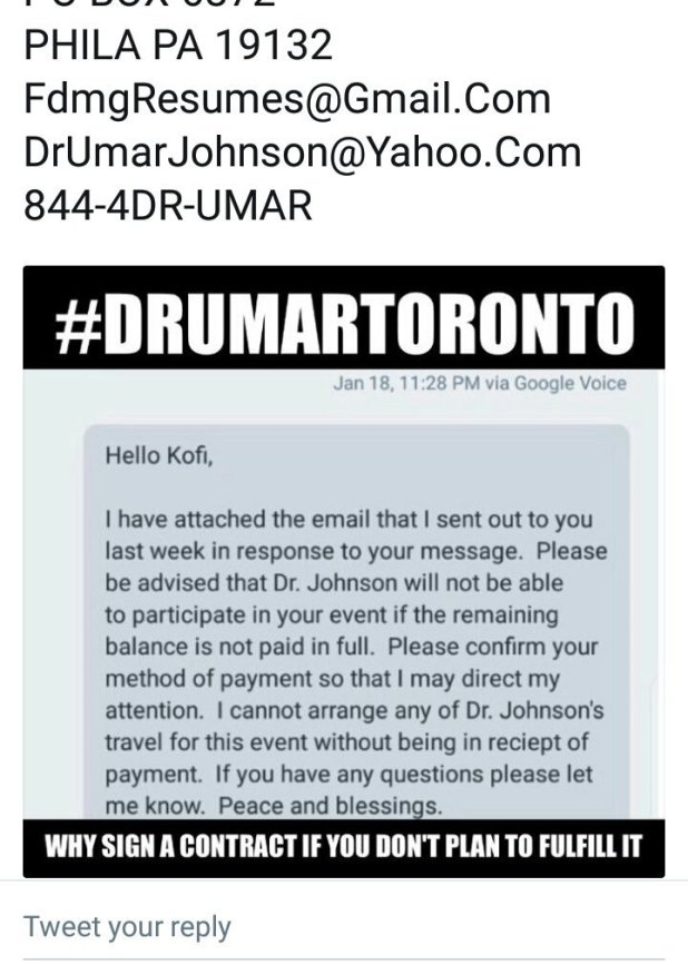 Black Canadian Organization Calls Umar Johnson Out For Fraud